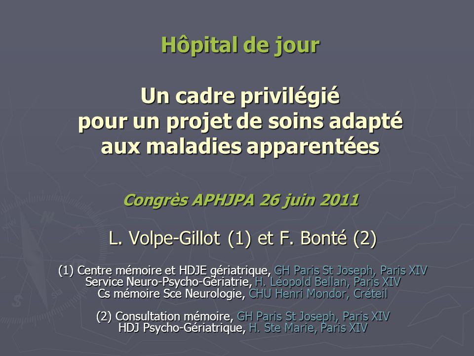 Hôpital de jour Un cadre privilégié pour un projet de soins adapté aux maladies apparentées Congrès APHJPA 26 juin 2011 L. Volpe-Gillot (1) et F. Bont