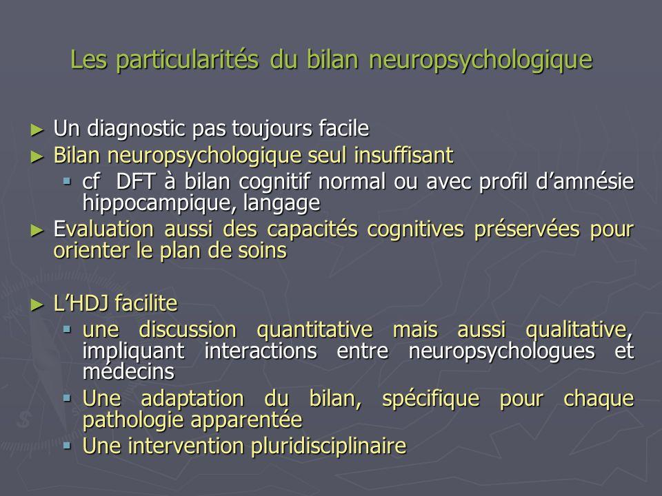 Les particularités du bilan neuropsychologique Un diagnostic pas toujours facile Un diagnostic pas toujours facile Bilan neuropsychologique seul insuf
