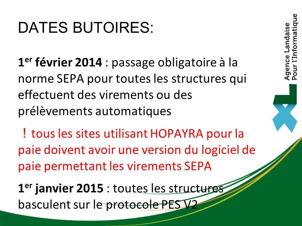 DATES BUTOIRES: 1 er février 2014 : passage obligatoire à la norme SEPA pour toutes les structures qui effectuent des virements ou des prélèvements au