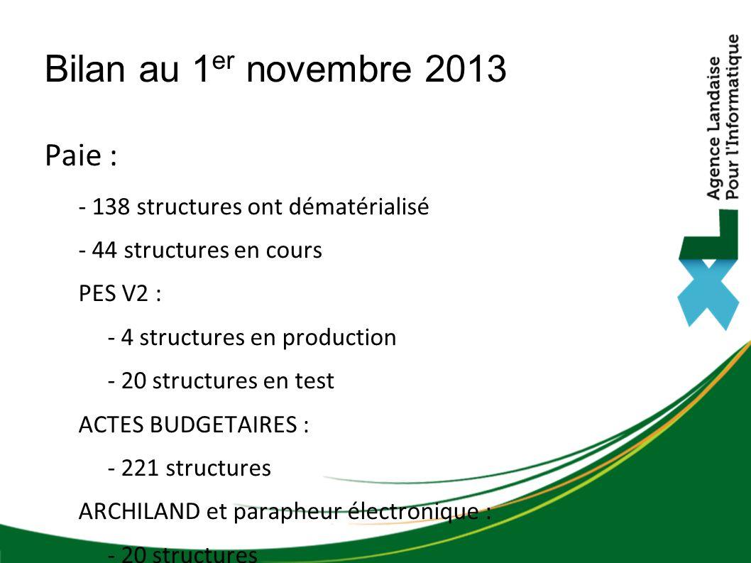 Paie : - 138 structures ont dématérialisé - 44 structures en cours PES V2 : - 4 structures en production - 20 structures en test ACTES BUDGETAIRES : -