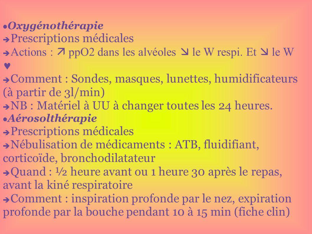 Oxygénothérapie Prescriptions médicales Actions : ppO2 dans les alvéoles le W respi. Et le W Comment : Sondes, masques, lunettes, humidificateurs (à p