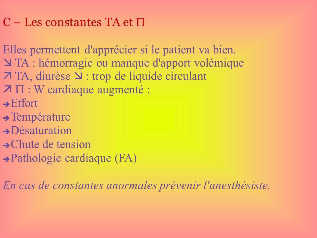 C – Les constantes TA et Elles permettent d'apprécier si le patient va bien. TA : hémorragie ou manque d'apport volémique TA, diurèse : trop de liquid