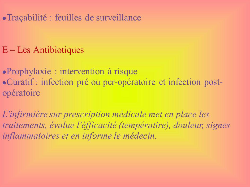 Traçabilité : feuilles de surveillance E – Les Antibiotiques Prophylaxie : intervention à risque Curatif : infection pré ou per-opératoire et infectio