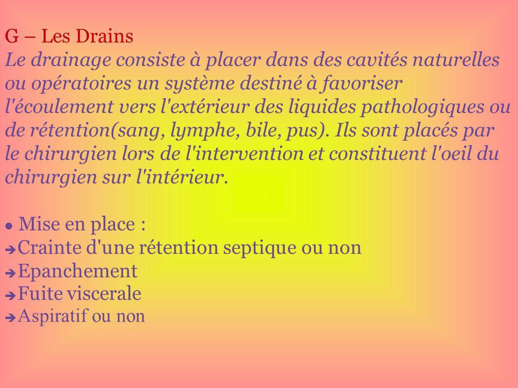 G – Les Drains Le drainage consiste à placer dans des cavités naturelles ou opératoires un système destiné à favoriser l'écoulement vers l'extérieur d