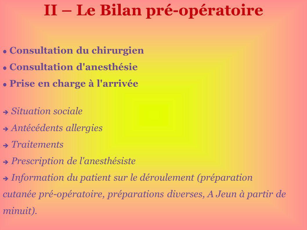 II – Le Bilan pré-opératoire Consultation du chirurgien Consultation d'anesthésie Prise en charge à l'arrivée Situation sociale Antécédents allergies
