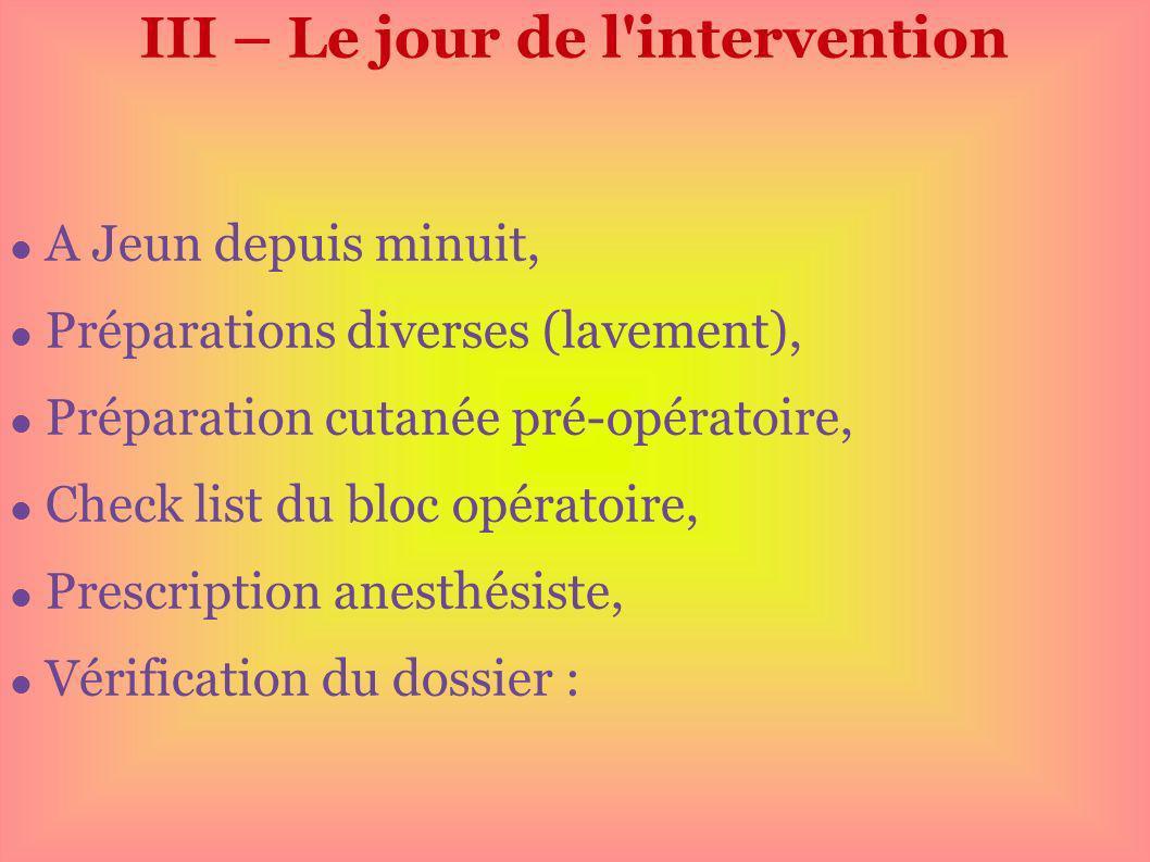 III – Le jour de l'intervention A Jeun depuis minuit, Préparations diverses (lavement), Préparation cutanée pré-opératoire, Check list du bloc opérato