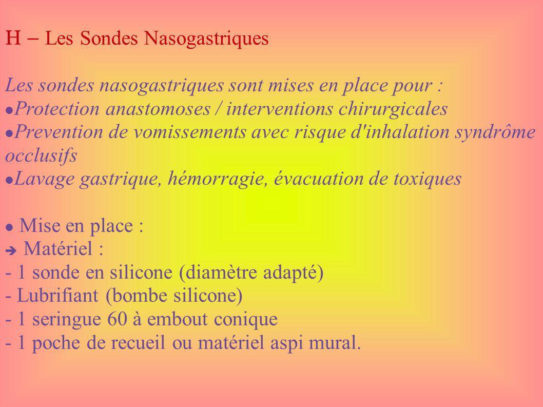 H – Les Sondes Nasogastriques Les sondes nasogastriques sont mises en place pour : Protection anastomoses / interventions chirurgicales Prevention de