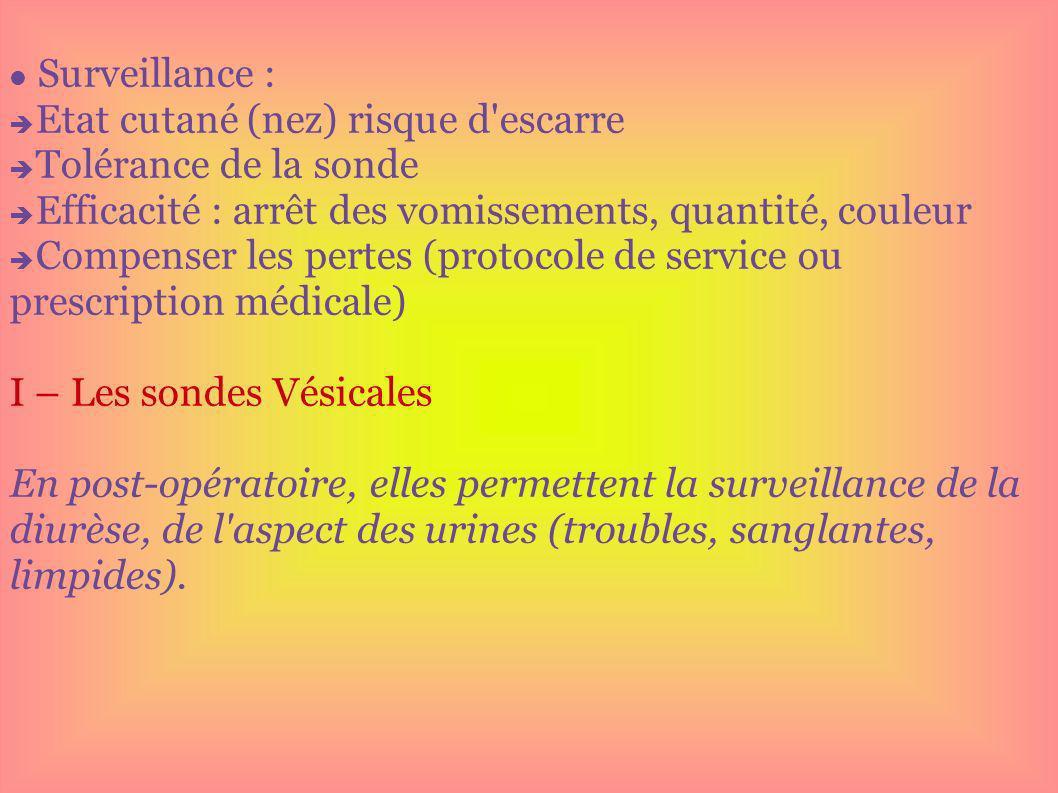 Surveillance : Etat cutané (nez) risque d'escarre Tolérance de la sonde Efficacité : arrêt des vomissements, quantité, couleur Compenser les pertes (p