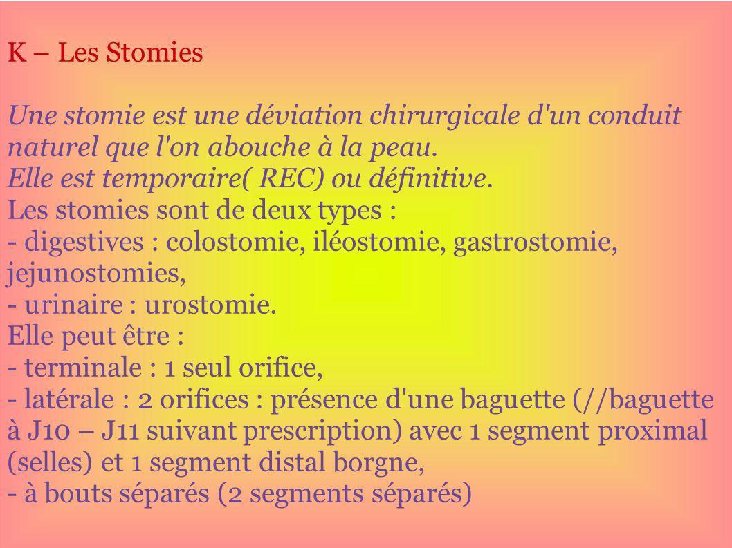K – Les Stomies Une stomie est une déviation chirurgicale d'un conduit naturel que l'on abouche à la peau. Elle est temporaire( REC) ou définitive. Le