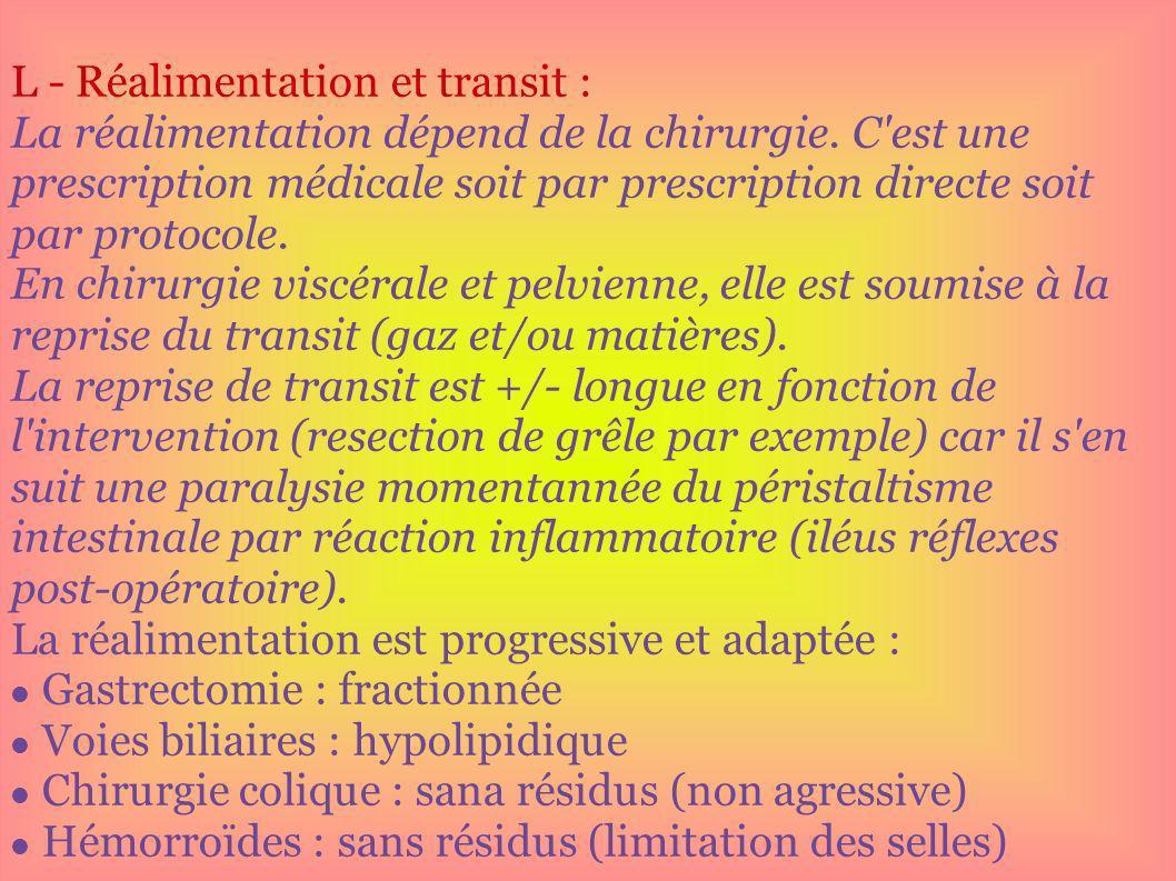 L - Réalimentation et transit : La réalimentation dépend de la chirurgie. C'est une prescription médicale soit par prescription directe soit par proto
