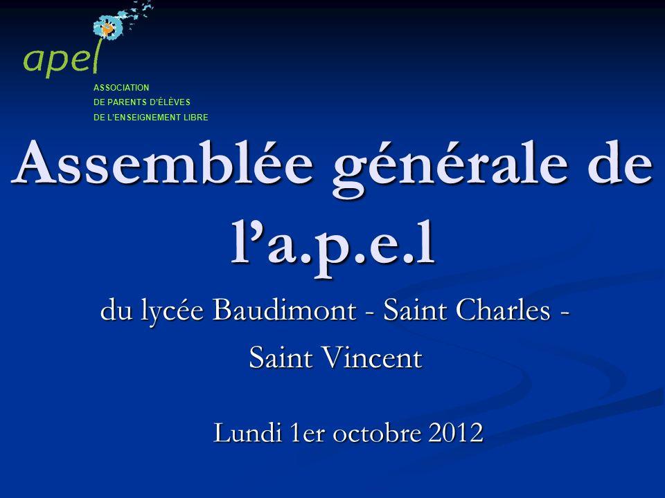 Assemblée générale de la.p.e.l Lundi 1er octobre 2012 du lycée Baudimont - Saint Charles - Saint Vincent ASSOCIATION DE PARENTS DÉLÈVES DE LENSEIGNEME