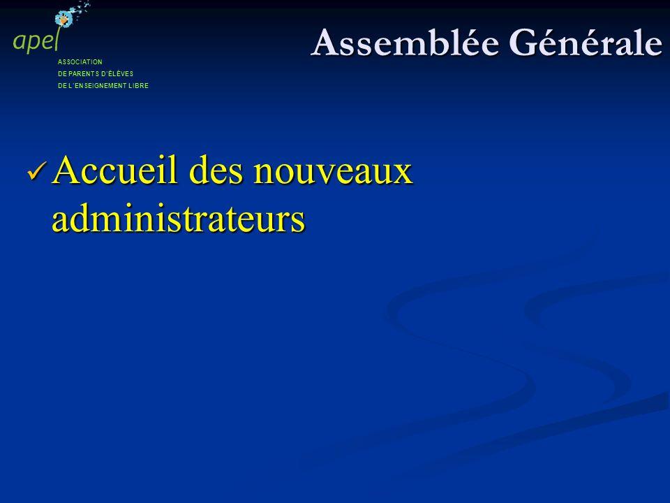 Assemblée Générale Accueil des nouveaux administrateurs Accueil des nouveaux administrateurs ASSOCIATION DE PARENTS DÉLÈVES DE LENSEIGNEMENT LIBRE
