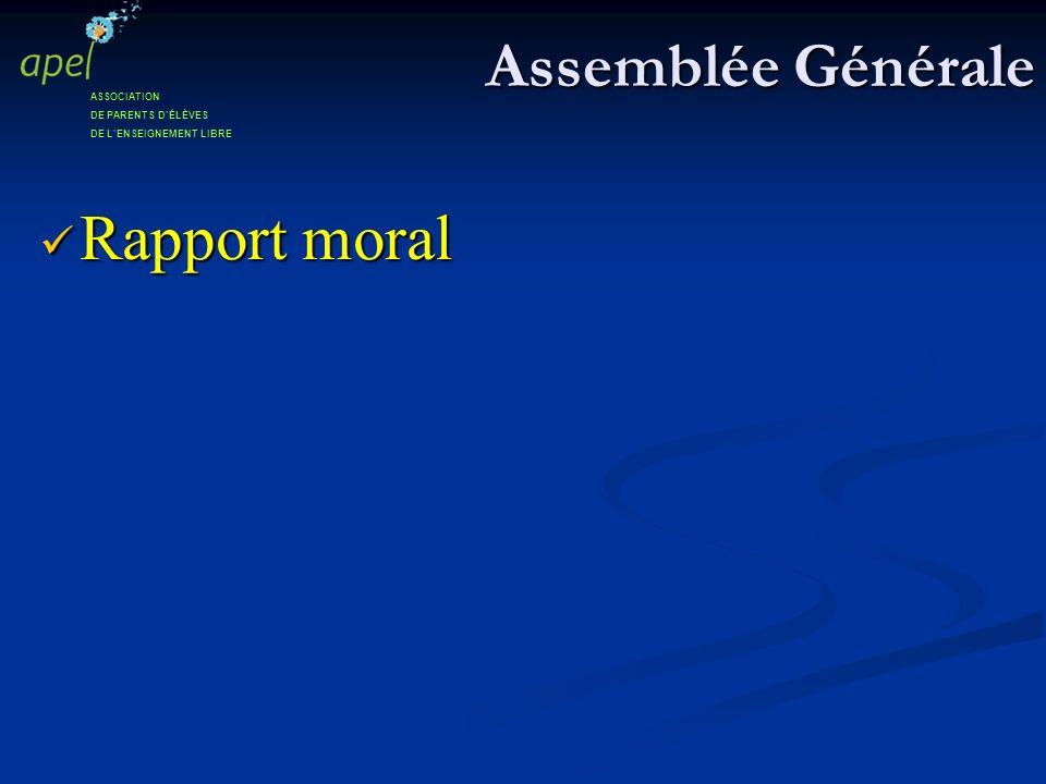 Assemblée Générale Rapport moral Rapport moral ASSOCIATION DE PARENTS DÉLÈVES DE LENSEIGNEMENT LIBRE