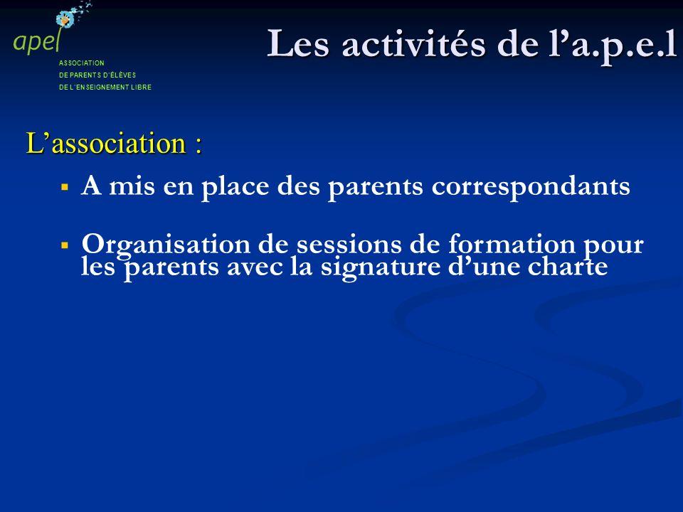 Les activités de la.p.e.l Lassociation : A mis en place des parents correspondants Organisation de sessions de formation pour les parents avec la sign