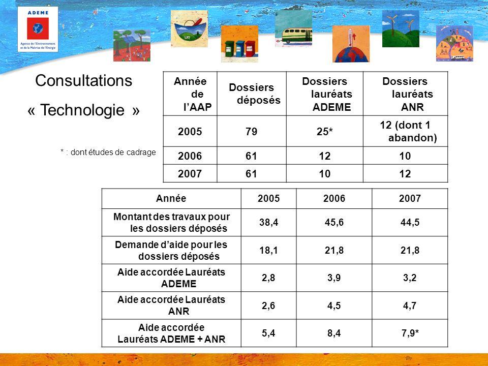 Année de lAAP Dossiers déposés Dossiers lauréats ADEME Dossiers lauréats ANR 20057925* 12 (dont 1 abandon) 2006611210 2007611012 * : dont études de ca