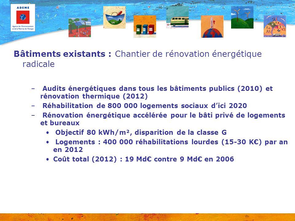 Bâtiments existants : Chantier de rénovation énergétique radicale – Audits énergétiques dans tous les bâtiments publics (2010) et rénovation thermique