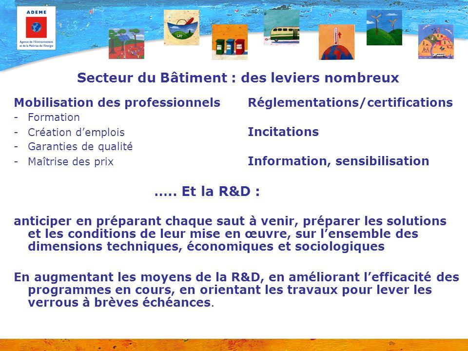 Secteur du Bâtiment : des leviers nombreux Mobilisation des professionnels Réglementations/certifications -Formation -Création demplois Incitations -G