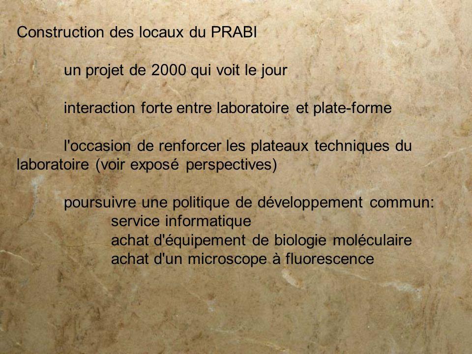 Construction des locaux du PRABI un projet de 2000 qui voit le jour interaction forte entre laboratoire et plate-forme l'occasion de renforcer les pla