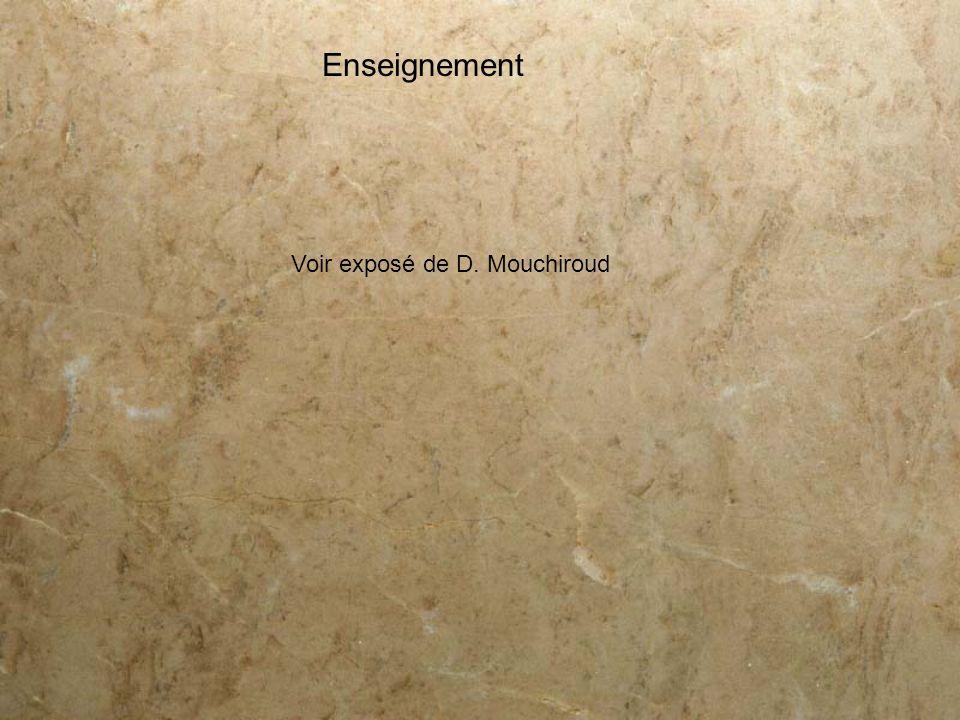 Enseignement Voir exposé de D. Mouchiroud