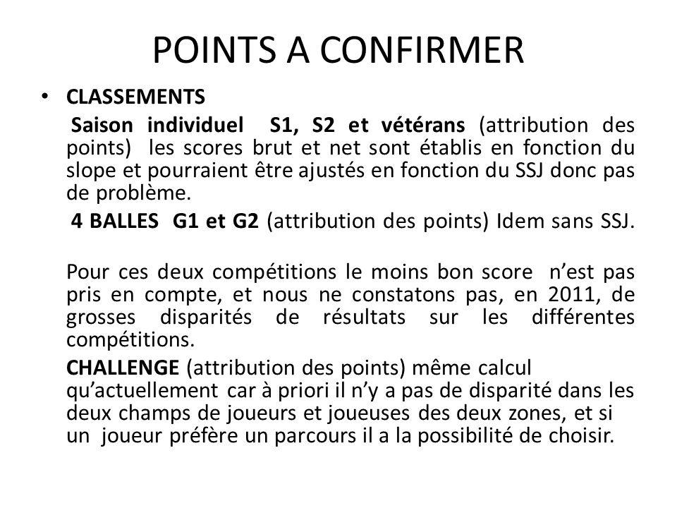 POINTS A CONFIRMER CLASSEMENTS Saison individuel S1, S2 et vétérans (attribution des points) les scores brut et net sont établis en fonction du slope et pourraient être ajustés en fonction du SSJ donc pas de problème.