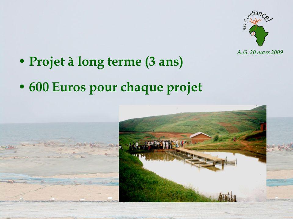 A.G. 20 mars 2009 Projet à long terme (3 ans) 600 Euros pour chaque projet