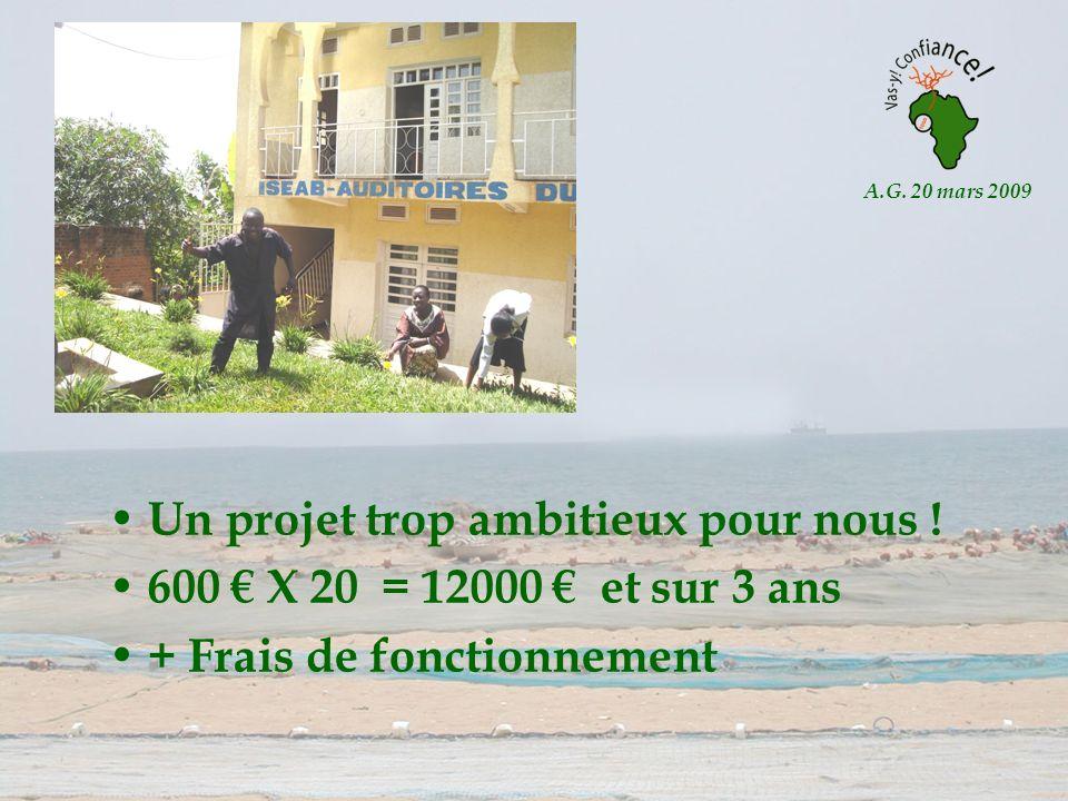 A.G. 20 mars 2009 Un projet trop ambitieux pour nous ! 600 X 20 = 12000 et sur 3 ans + Frais de fonctionnement