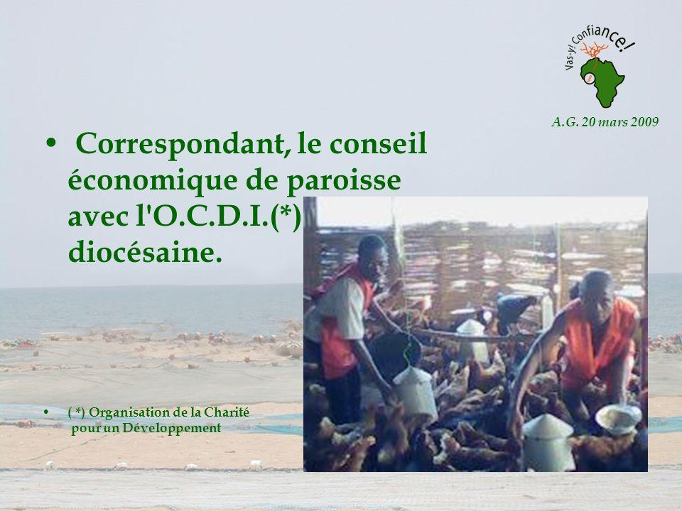 A.G. 20 mars 2009 Correspondant, le conseil économique de paroisse avec l'O.C.D.I.(*) diocésaine. ( *) Organisation de la Charité pour un Développemen