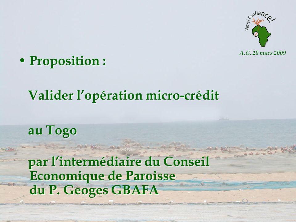 A.G. 20 mars 2009 Proposition : Valider lopération micro-crédit au Togo par lintermédiaire du Conseil Economique de Paroisse du P. Geoges GBAFA Propos