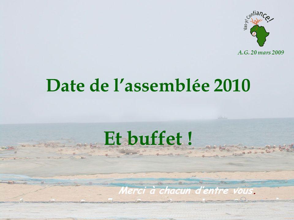 A.G. 20 mars 2009 Date de lassemblée 2010 Et buffet ! Merci à chacun dentre vous.