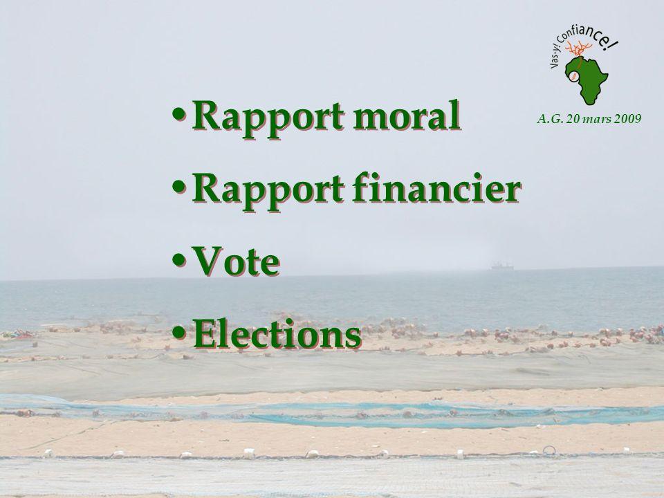 A.G. 20 mars 2009 Rapport moral Rapport financier Vote Elections Rapport moral Rapport financier Vote Elections