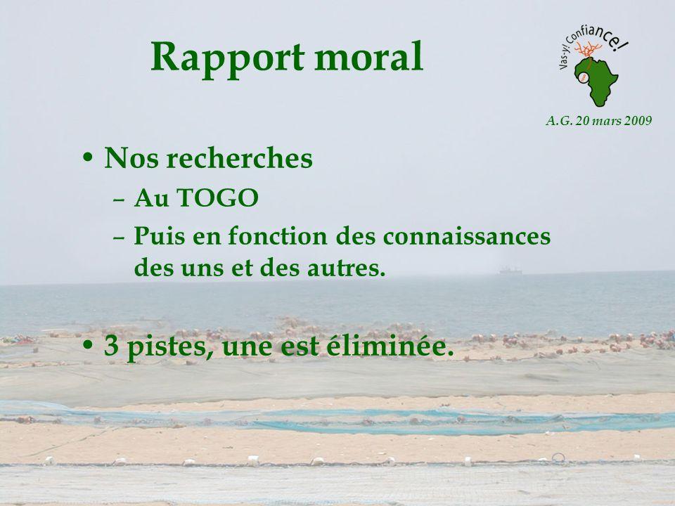 A.G. 20 mars 2009 Rapport moral Nos recherches – Au TOGO – Puis en fonction des connaissances des uns et des autres. 3 pistes, une est éliminée.