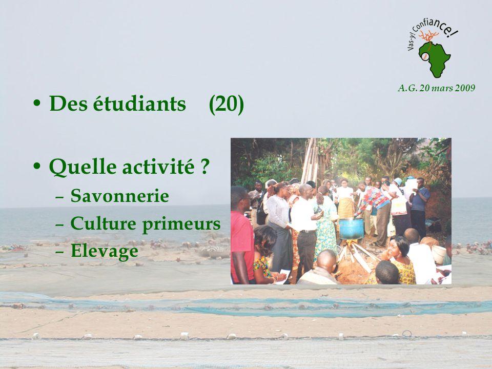 A.G. 20 mars 2009 Des étudiants (20) Quelle activité ? – Savonnerie – Culture primeurs – Elevage