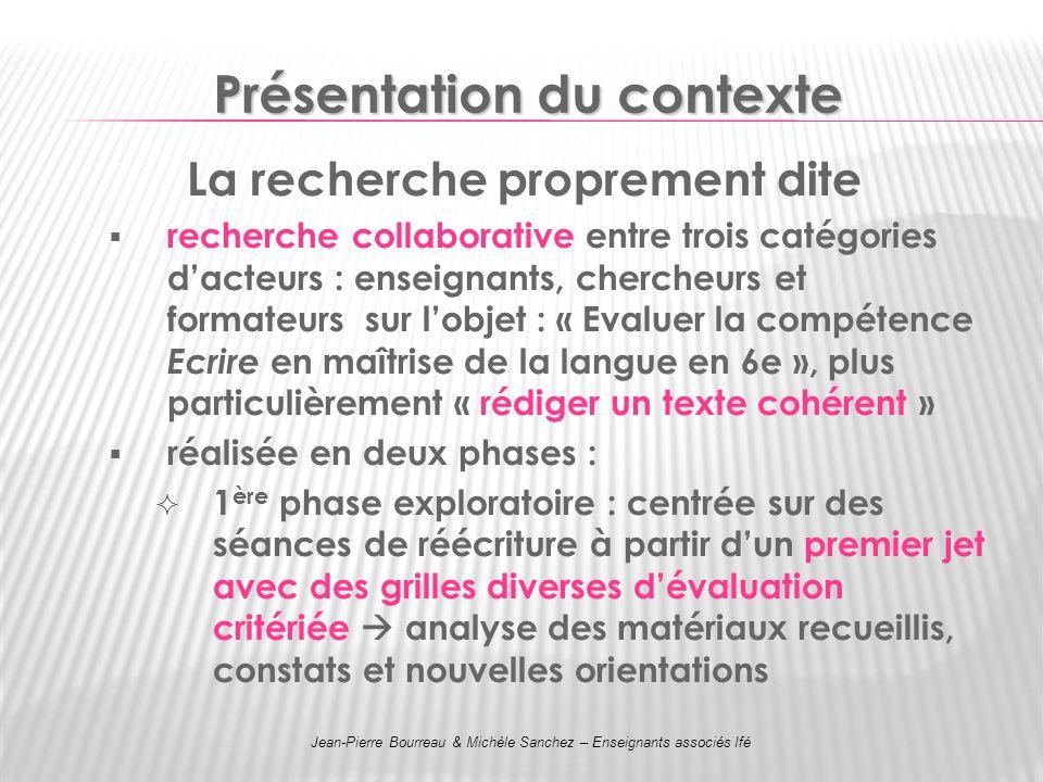 Présentation du contexte La recherche proprement dite recherche collaborative entre trois catégories dacteurs : enseignants, chercheurs et formateurs