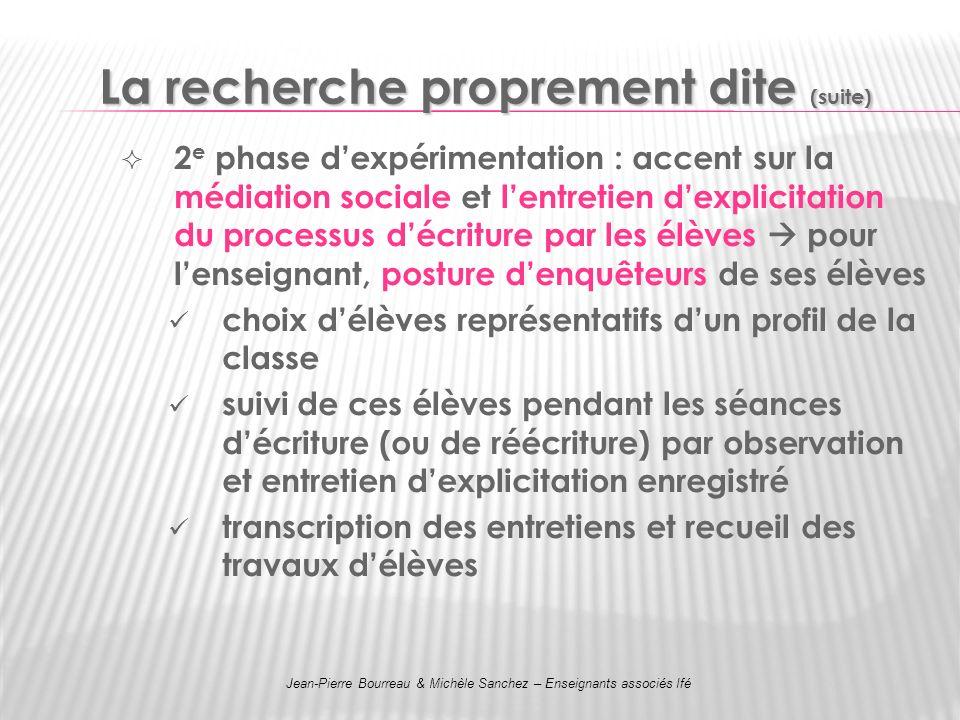 La recherche proprement dite (suite) 2 e phase dexpérimentation : accent sur la médiation sociale et lentretien dexplicitation du processus décriture