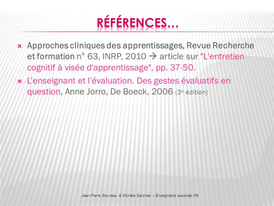 Approches cliniques des apprentissages, Revue Recherche et formation n° 63, INRP, 2010 article sur