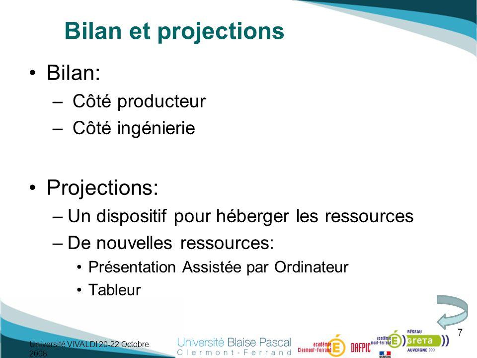 Bilan et projections Bilan: – Côté producteur – Côté ingénierie Projections: –Un dispositif pour héberger les ressources –De nouvelles ressources: Pré