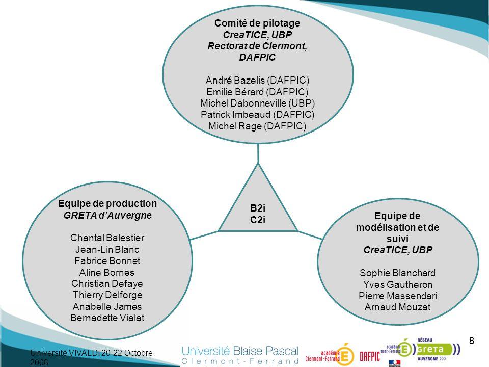 8 Comité de pilotage CreaTICE, UBP Rectorat de Clermont, DAFPIC André Bazelis (DAFPIC) Emilie Bérard (DAFPIC) Michel Dabonneville (UBP) Patrick Imbeau