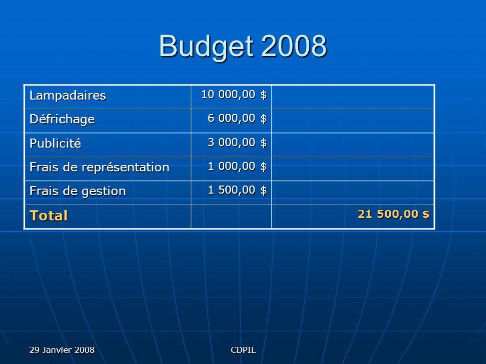 29 Janvier 2008CDPIL Budget 2008 Lampadaires 10 000,00 $ Défrichage 6 000,00 $ Publicité 3 000,00 $ Frais de représentation 1 000,00 $ Frais de gestion 1 500,00 $ Total 21 500,00 $