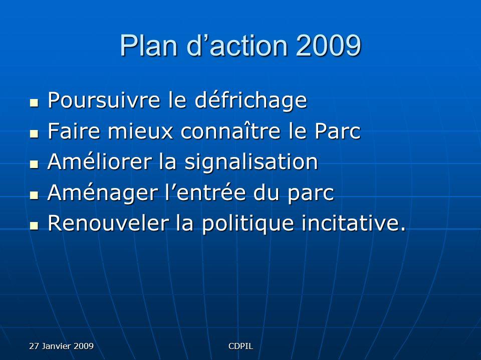 27 Janvier 2009CDPIL Plan daction 2009 Poursuivre le défrichage Faire mieux connaître le Parc Améliorer la signalisation Aménager lentrée du parc Renouveler la politique incitative.