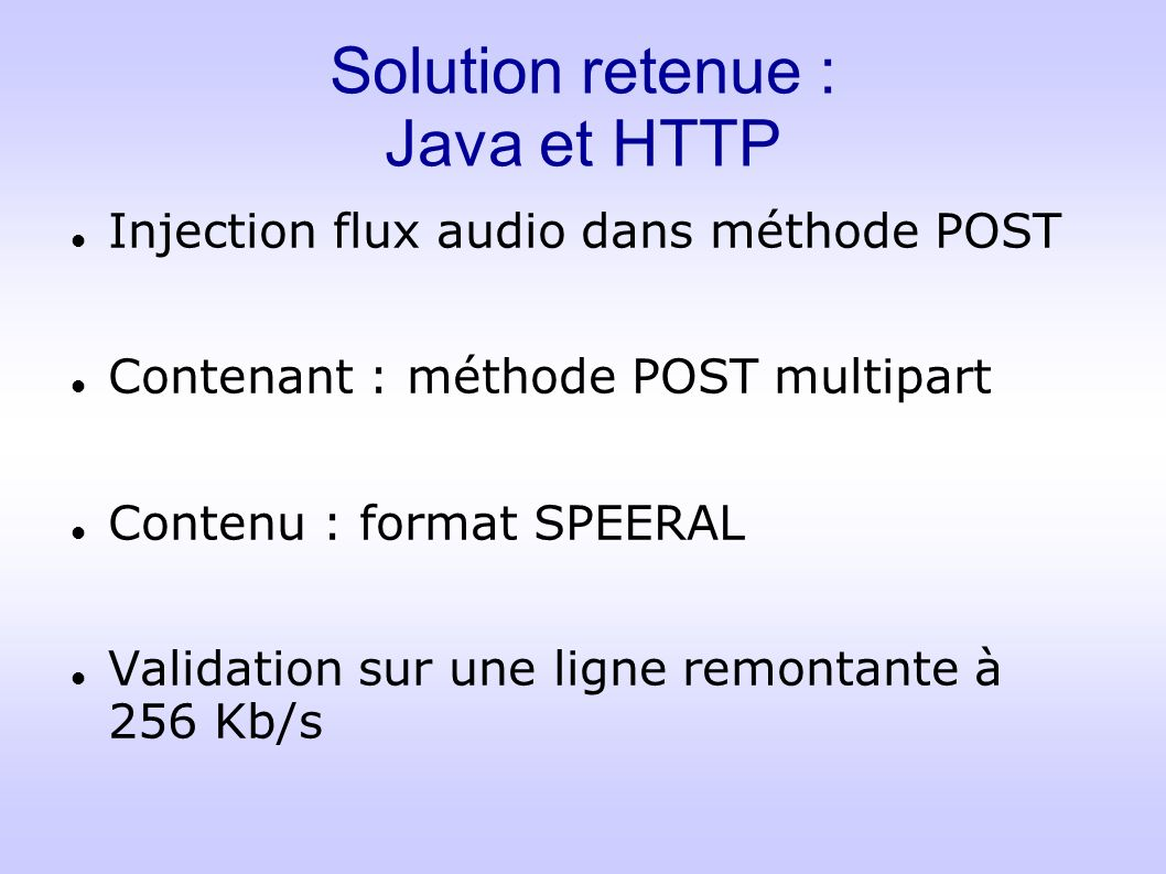 Solution retenue : Java et HTTP Injection flux audio dans méthode POST Contenant : méthode POST multipart Contenu : format SPEERAL Validation sur une ligne remontante à 256 Kb/s