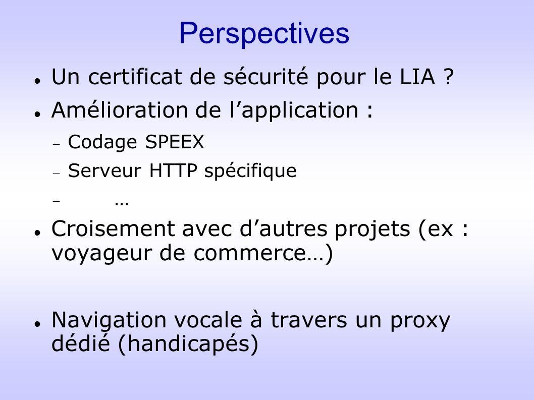 Perspectives Un certificat de sécurité pour le LIA ? Amélioration de lapplication : Codage SPEEX Serveur HTTP spécifique … Croisement avec dautres pro