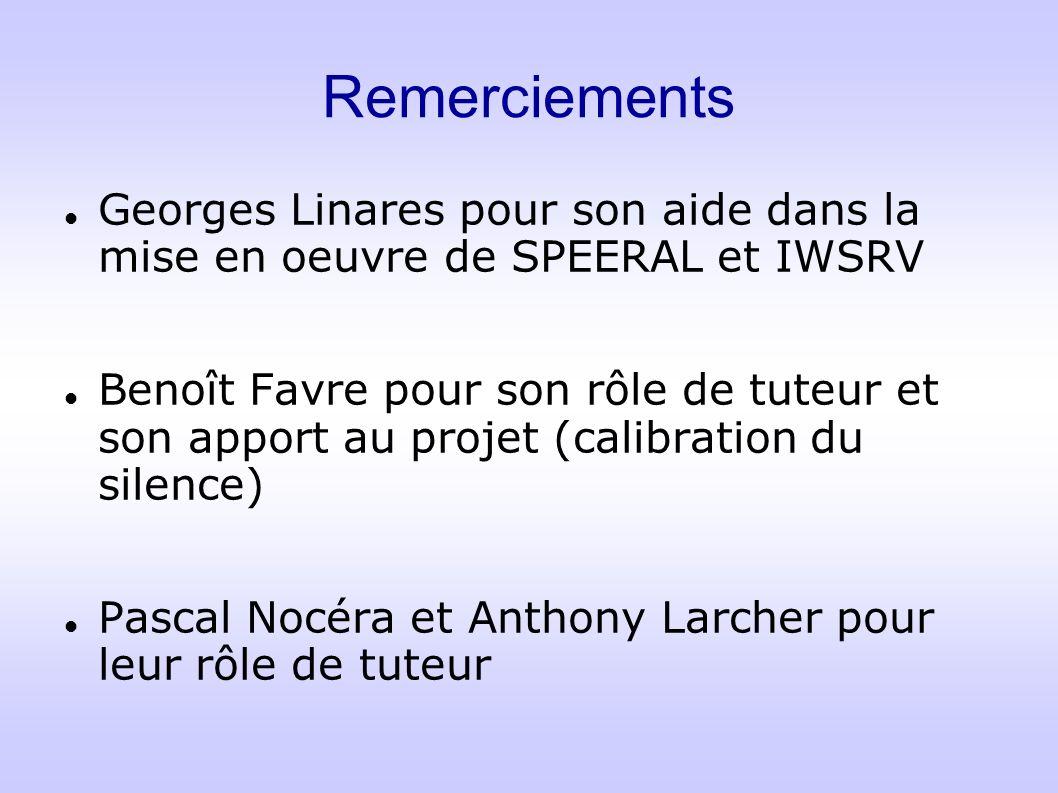 Remerciements Georges Linares pour son aide dans la mise en oeuvre de SPEERAL et IWSRV Benoît Favre pour son rôle de tuteur et son apport au projet (c