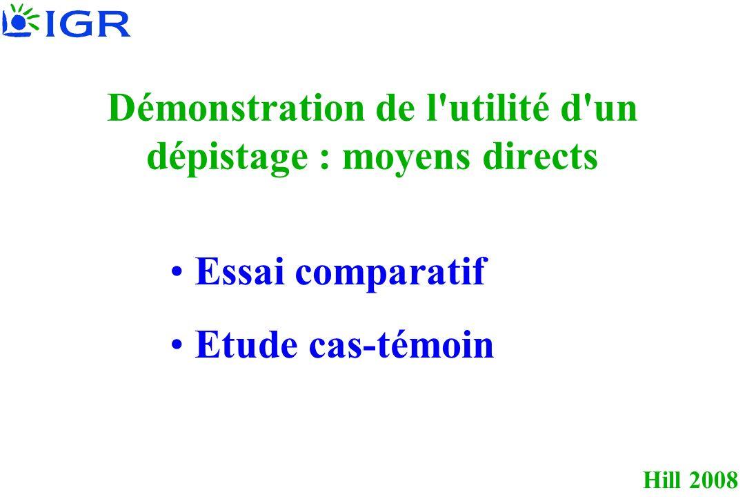 Hill 2008 Démonstration de l utilité d un dépistage : moyens directs Essai comparatif Etude cas-témoin
