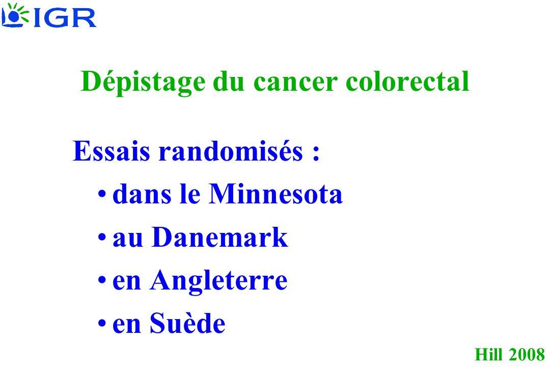 Hill 2008 Dépistage du cancer colorectal Essais randomisés : dans le Minnesota au Danemark en Angleterre en Suède