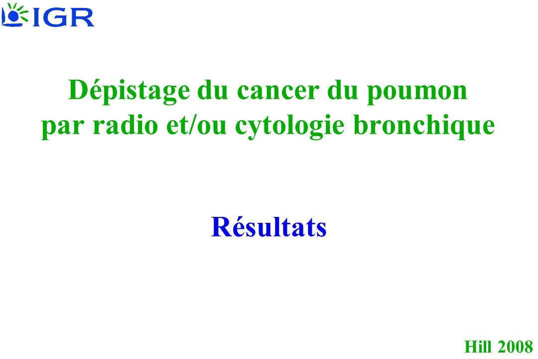 Hill 2008 Dépistage du cancer du poumon par radio et/ou cytologie bronchique Résultats