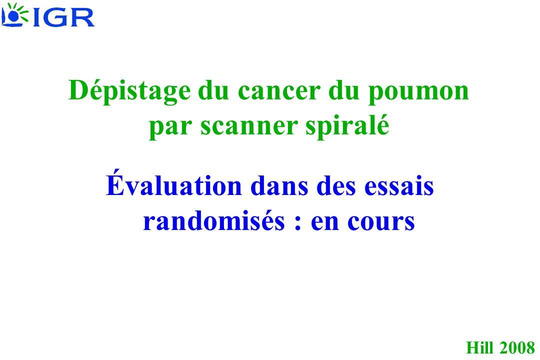 Hill 2008 Dépistage du cancer du poumon par scanner spiralé Évaluation dans des essais randomisés : en cours