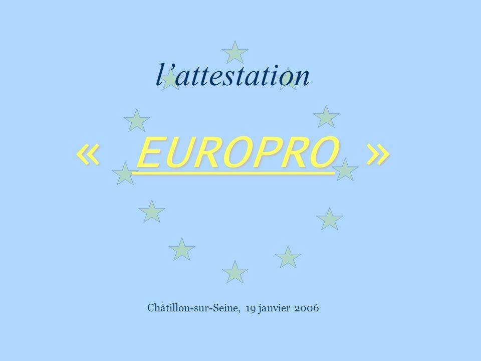 Lattestation Europro Publics concernés Lattestation « EUROPRO » sadresse à des élèves ou étudiants préparant au diplôme de niveau V au niveau III des lycées denseignement publics et privés sous contrat (BO N°22 du 30 mai 2002) Formation en alternance Lattestation « EUROPRO » se prépare en alternance au lycée et en entreprise.