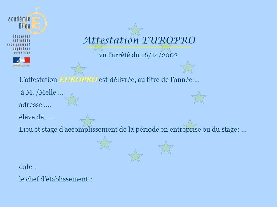 Attestation EUROPRO vu larrêté du 16/14/2002 EUROPRO Lattestation EUROPRO est délivrée, au titre de lannée … à M. /Melle … adresse …. élève de ….. Lie