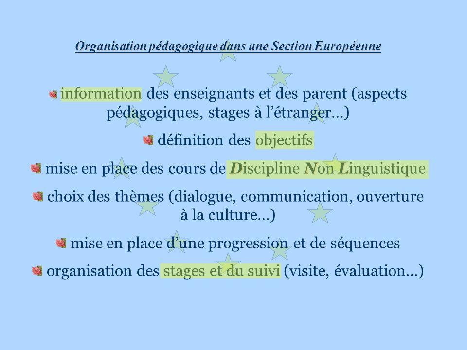 Organisation pédagogique dans une Section Européenne information des enseignants et des parent (aspects pédagogiques, stages à létranger…) définition