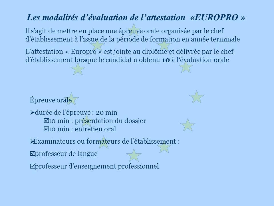 Les modalités dévaluation de lattestation «EUROPRO » Il sagit de mettre en place une épreuve orale organisée par le chef détablissement à lissue de la